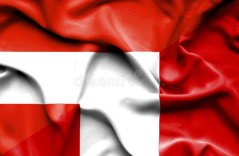 秘鲁和奥地利的挥动的旗子 库存例证