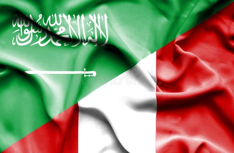 秘鲁和沙特阿拉伯的挥动的旗子 库存例证