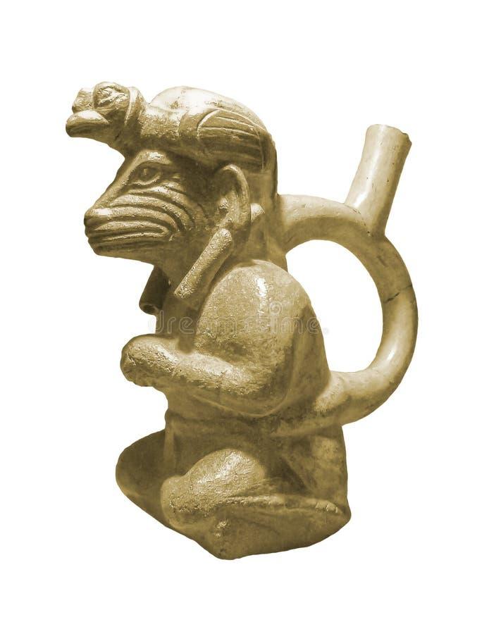 秘鲁哥伦布发现美洲大陆以前雕塑 免版税库存照片