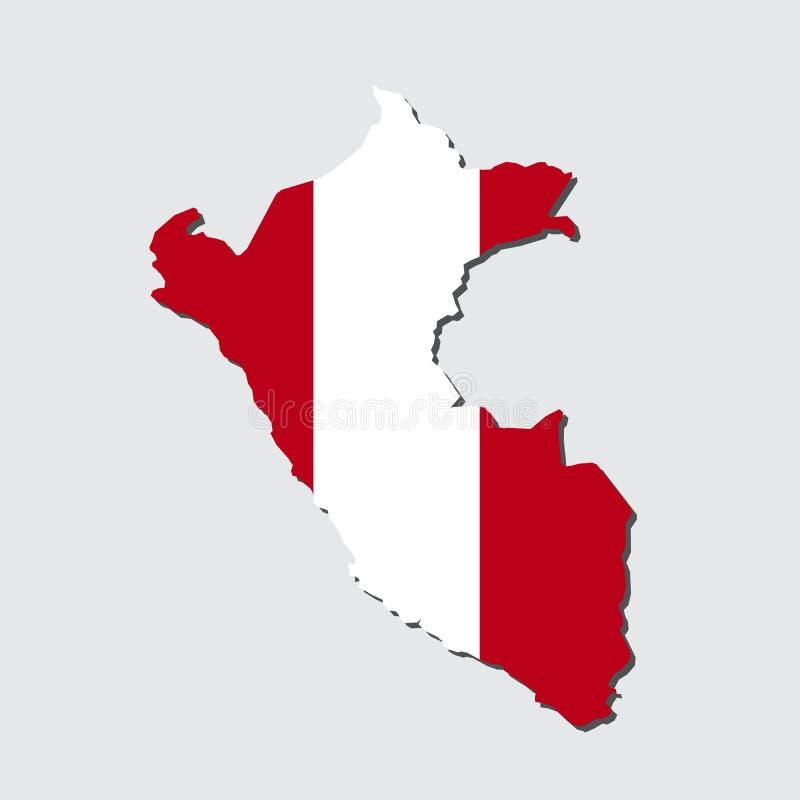 秘鲁地图旗子,与旗子传染媒介的秘鲁地图 免版税图库摄影