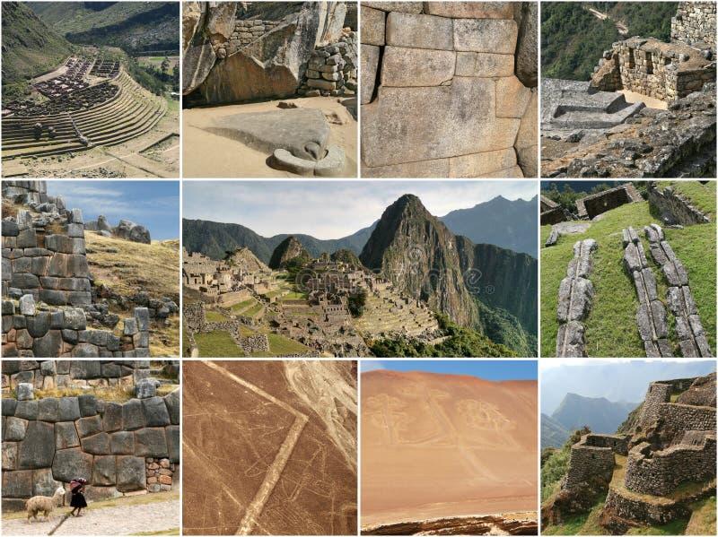 秘鲁地标拼贴画 免版税图库摄影