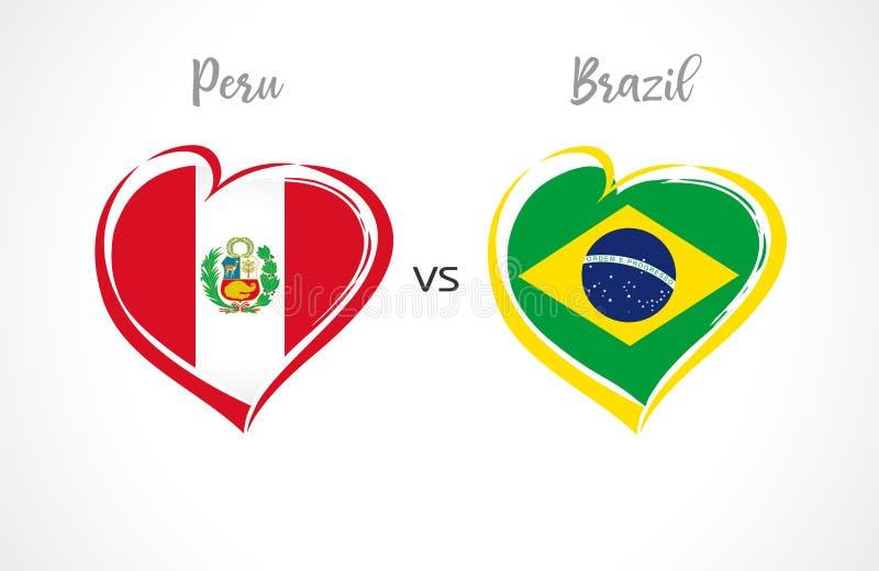 秘鲁对巴西,国家队在白色背景的足球旗子 皇族释放例证