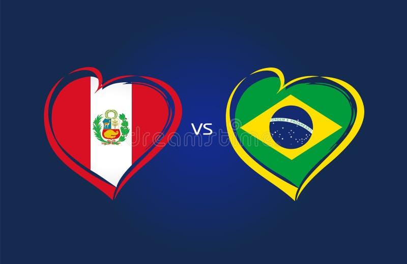 秘鲁对巴西,国家队在蓝色背景的足球旗子 皇族释放例证