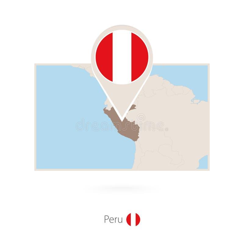秘鲁的长方形地图有秘鲁的别针象的 库存例证