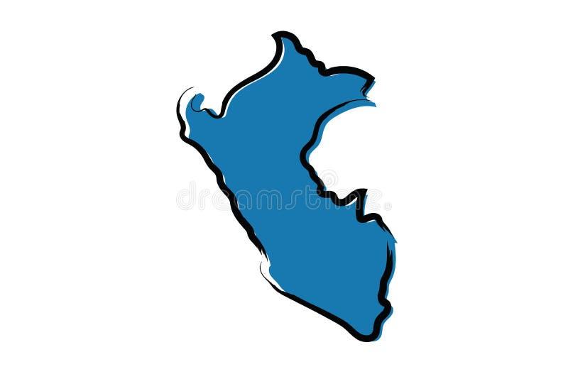 秘鲁的风格化蓝色略图 向量例证