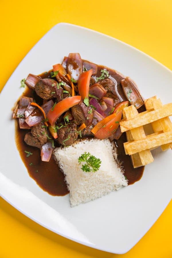 秘鲁食物'lomo saltado'特写镜头 免版税库存照片