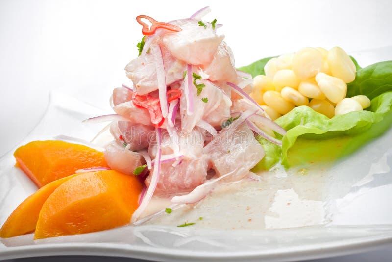 秘鲁食物,在白色的CEVICHE板材 图库摄影