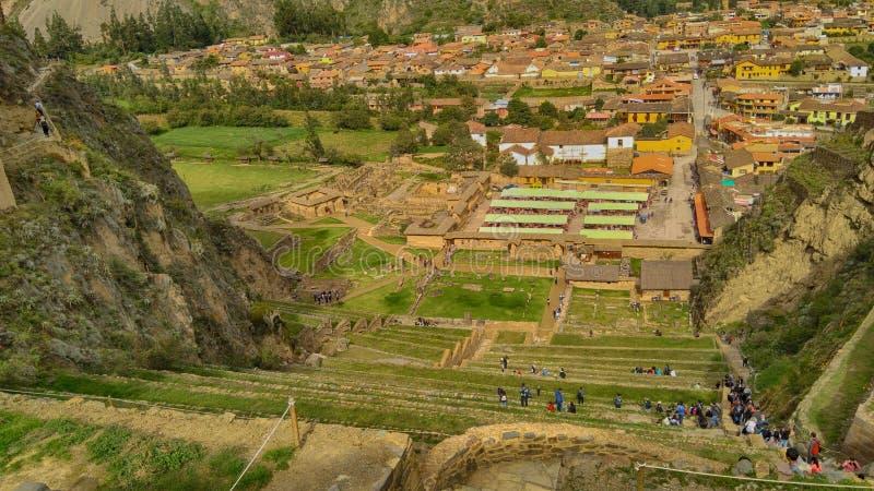 秘鲁,神圣的谷,Ollantaytambo村庄  免版税库存照片