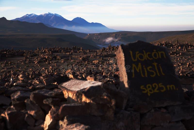 秘鲁, Misti火山 图库摄影