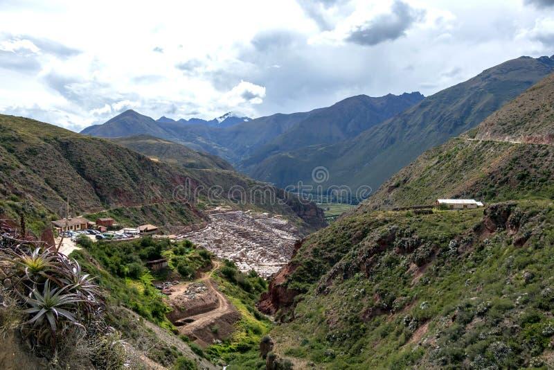 秘鲁,Salinas de马拉什,前印加人传统盐矿(;盐沼 免版税图库摄影