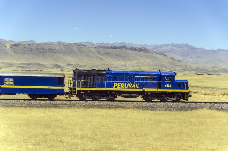秘鲁- Perurail火车 库存照片