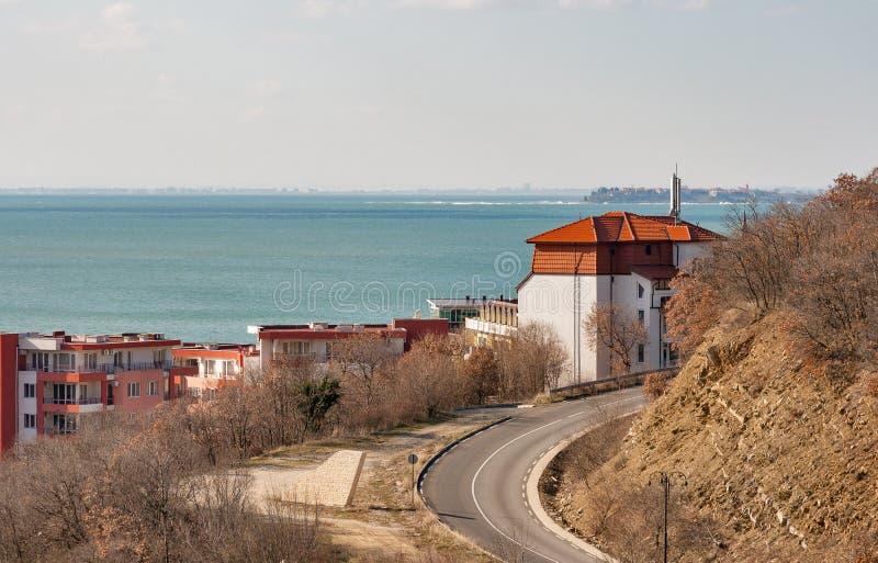 租的现代村庄在黑海避暑胜地,保加利亚 免版税库存照片