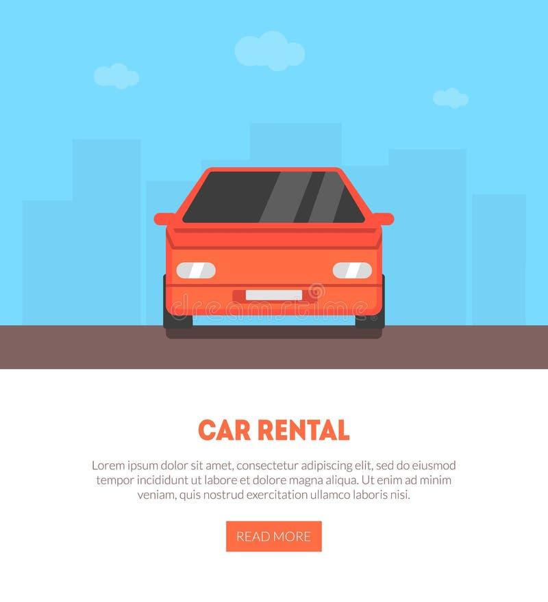 租车与地方的着陆页文本的,租赁,卖,出租的自动服务业传染媒介例证 皇族释放例证