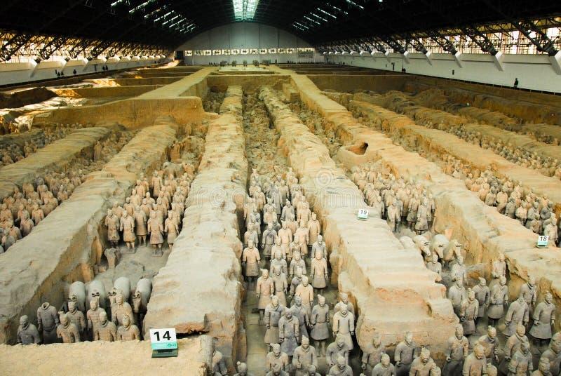 秦始皇兵马俑在第一个秦代皇帝的陵墓在羡,中国 免版税库存照片