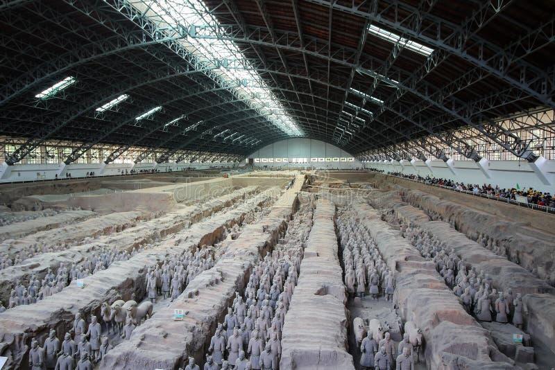 秦始皇兵马俑或战士在西安中国外面 免版税图库摄影