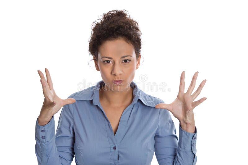 积极和坏脾气的被隔绝的女商人 库存图片