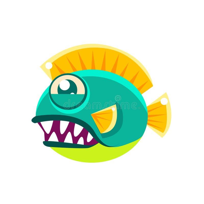 积极的圆的与大牙漫画人物的绿松石意想不到的水族馆热带鱼 向量例证