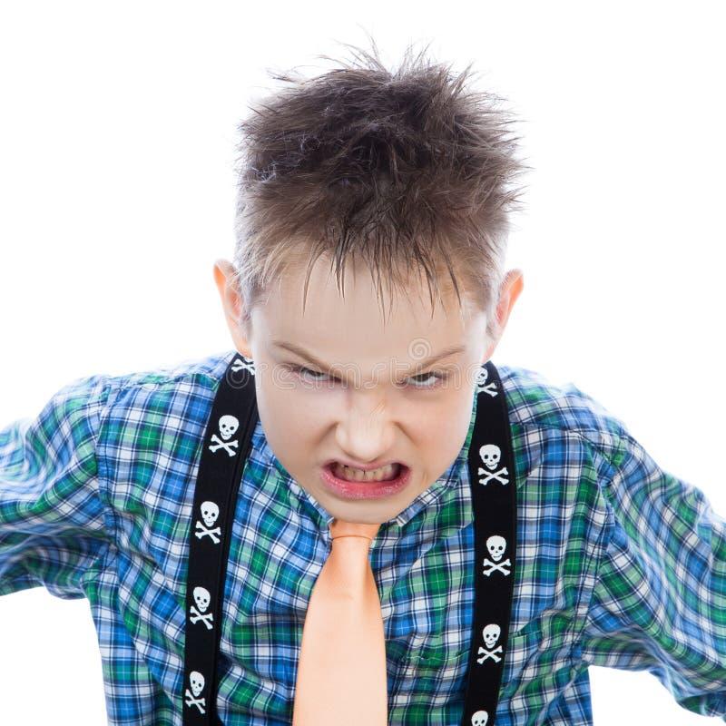 积极的小男孩呼喊在照相机 免版税库存照片