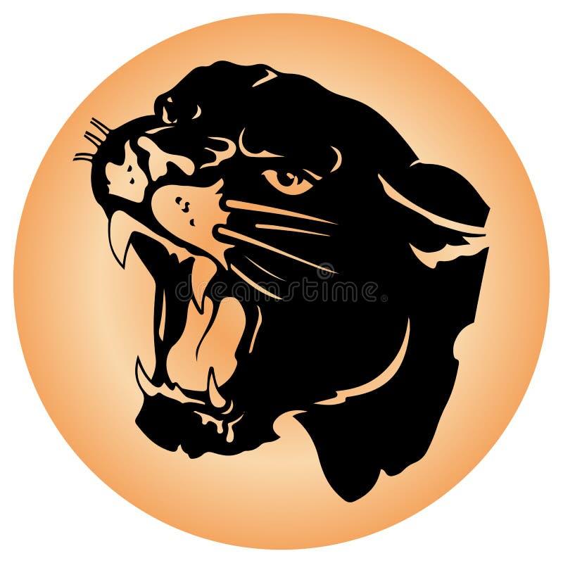 积极的豹头剪影,有开放鱼鳔和犬齿的,在一个圆的棕色象 库存例证