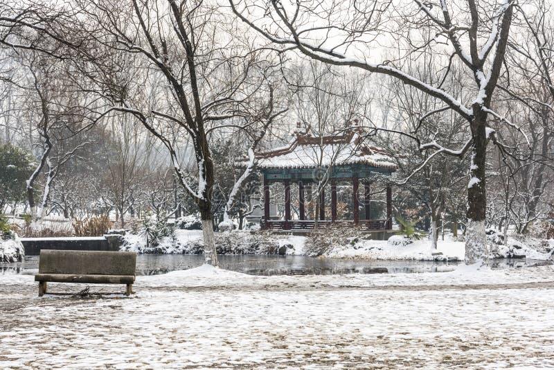 积雪的亭子 图库摄影