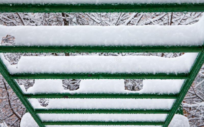 积雪的体育台阶标志横线 宏观看法选择聚焦 库存图片
