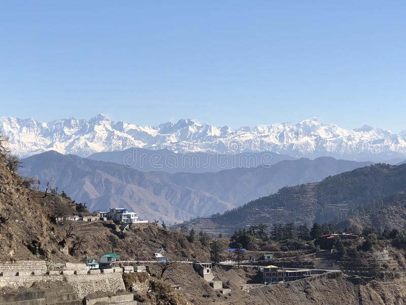积雪的喜马拉雅范围吻合风景  库存图片