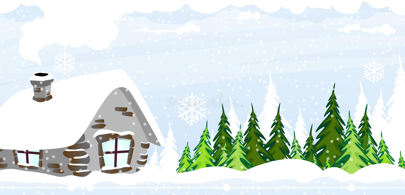 积雪的小屋 库存例证