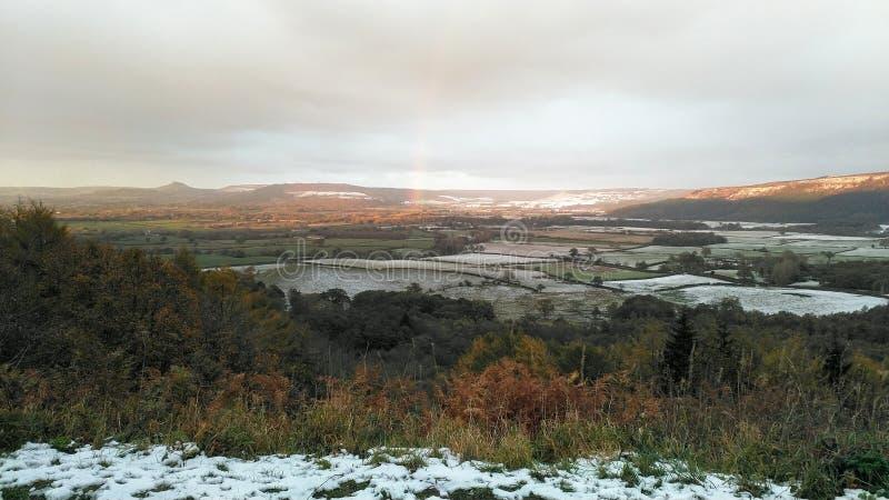 积雪的小山在北约克郡停泊,英国 库存照片