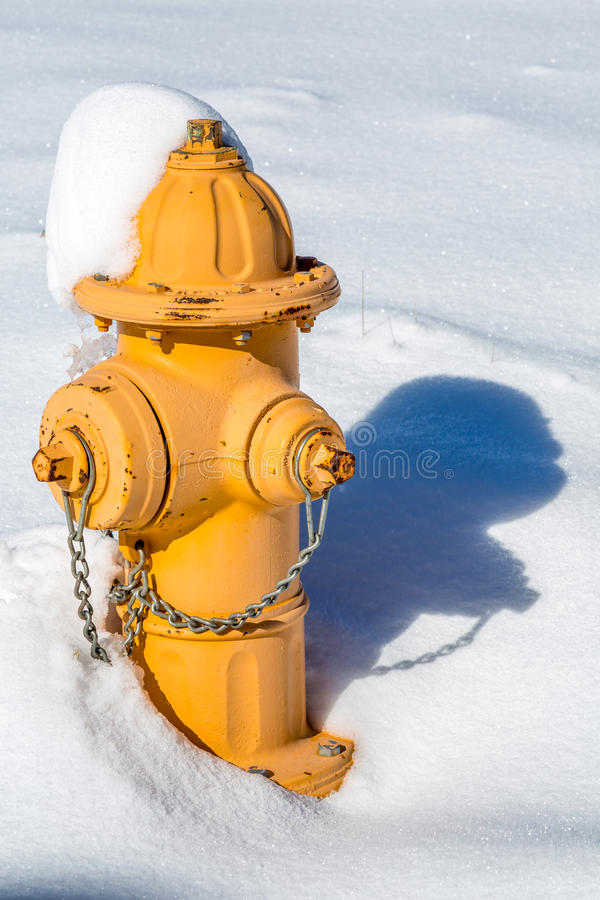 积雪的消防龙头 免版税库存照片
