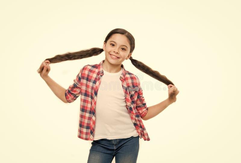 称呼头发所有方式她喜欢 与秀丽神色的小头发模型 有时髦的马尾辫发型的女孩 ?? 免版税图库摄影