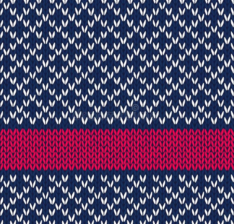 称呼无缝的蓝色空白红颜色编织 向量例证