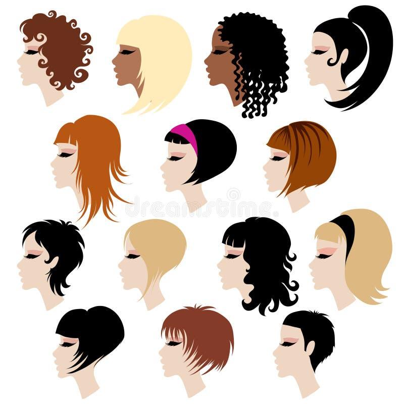 称呼时髦向量妇女的头发集 向量例证