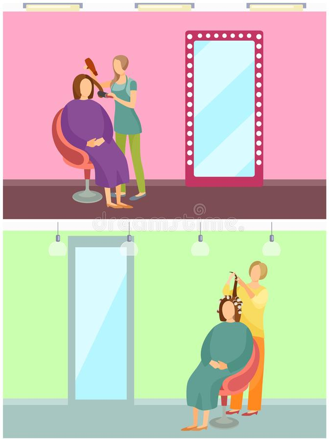 称呼美发师服务秀丽传染媒介的头发 库存例证