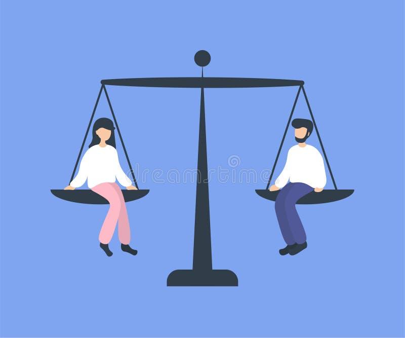 称盘的男女平等 库存例证