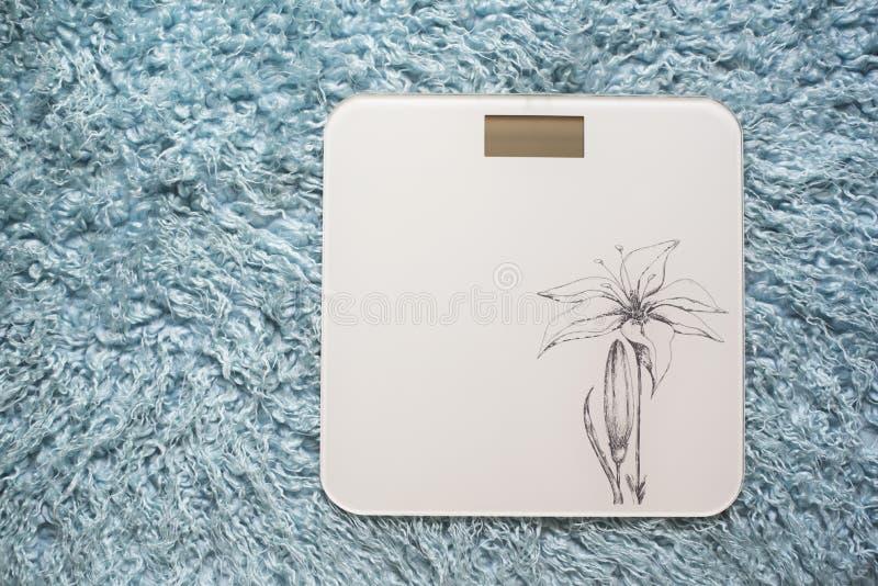 称/在毛皮地毯的称量器在卫生间里 免版税库存照片