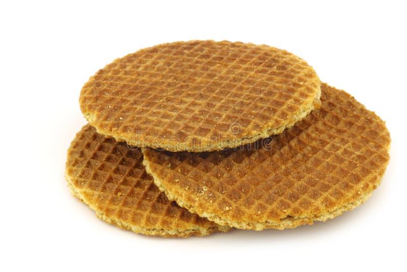 称stroopwafel的荷兰奶蛋烘饼 免版税库存图片