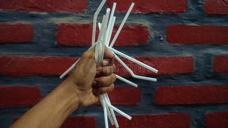 秸杆塑料污染是有害的 库存图片
