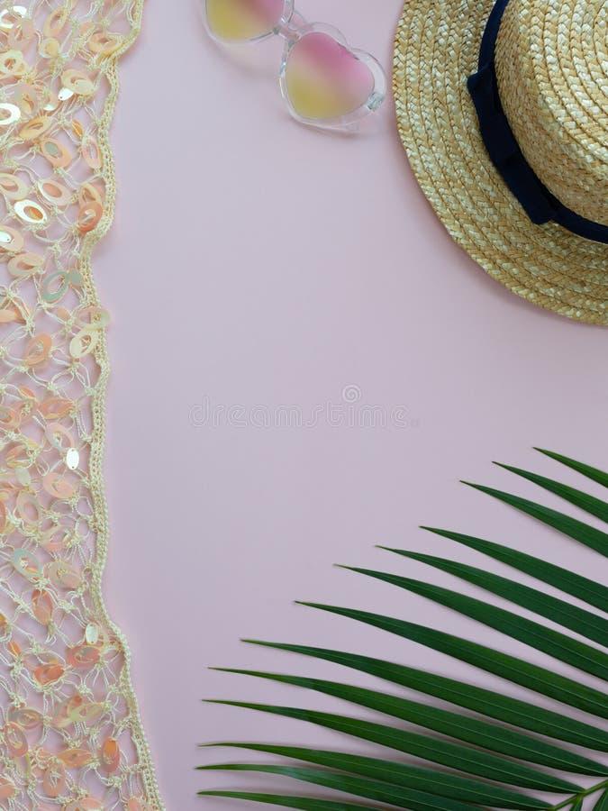 秸杆夏天帽子、心脏形状太阳镜和棕榈叶 库存照片
