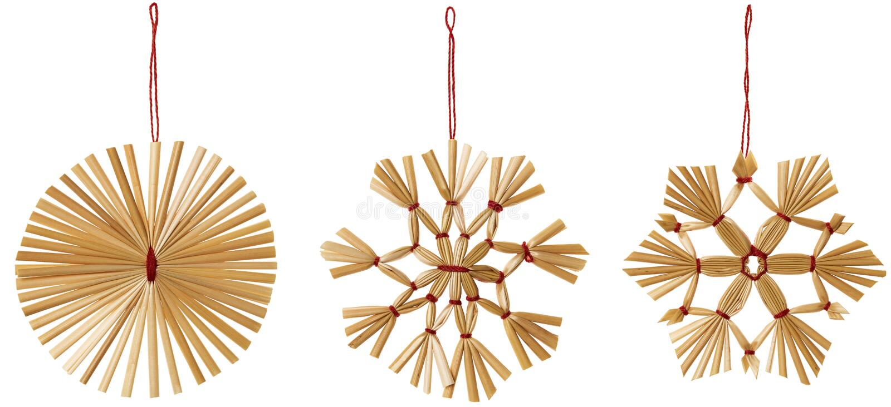 秸杆雪花垂悬的装饰,稻草雪剥落圣诞节 库存照片