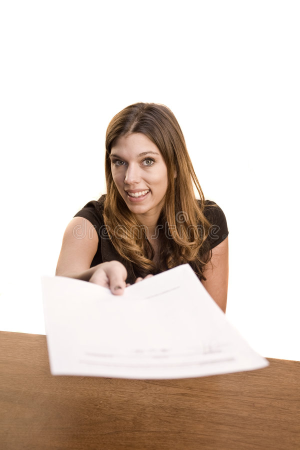 移交纸妇女 库存照片