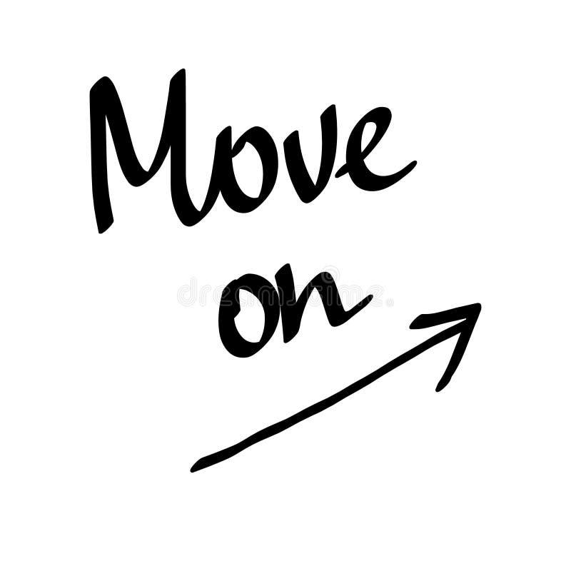 移动在与箭头的字法 库存例证