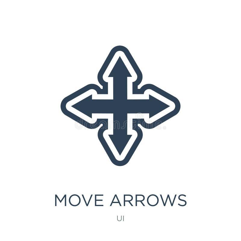 移动在时髦设计样式的箭头象 移动在白色背景隔绝的箭头象 移动箭头导航现代的象简单和 库存例证
