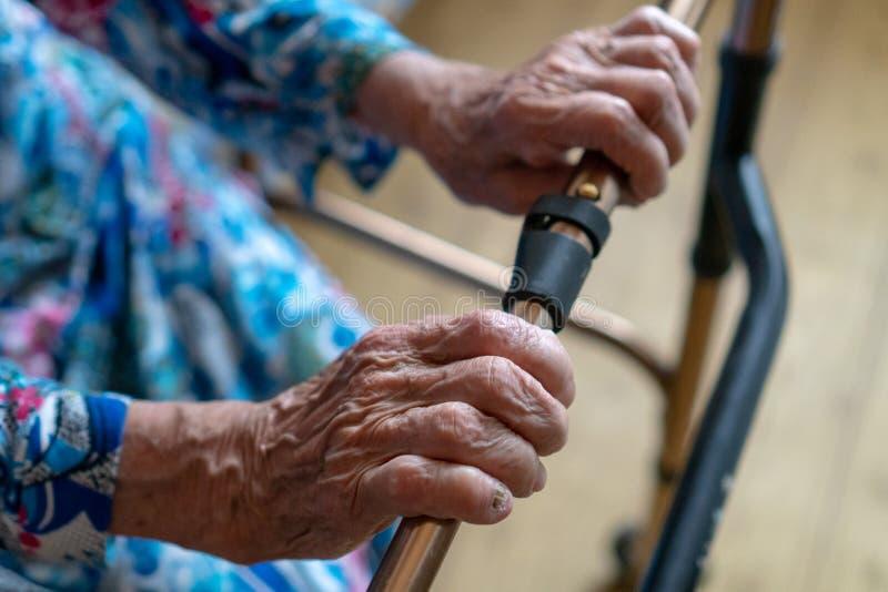 移动在步行者帮助下的资深妇女特写镜头 老病的妇女90年在医院 免版税库存照片
