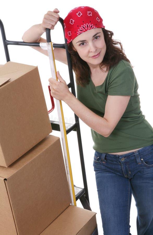 移动妇女的配件箱 免版税库存图片