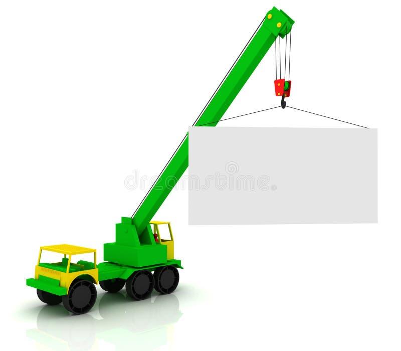 移动式起重机和广告牌 向量例证