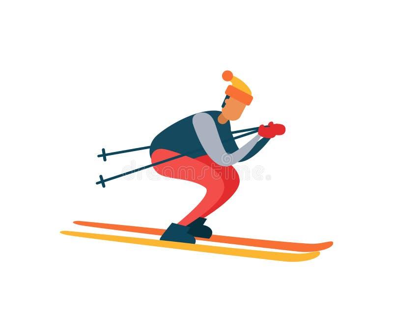 移动快速的滑雪的老练的滑雪者下坡 向量例证