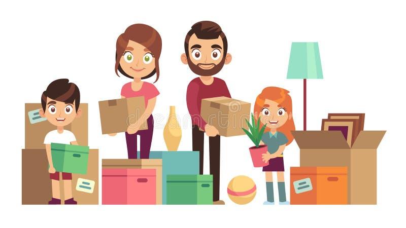 移动新的家的家庭 包装愉快的人民打开箱子纸板包裹提供父母孩子拆迁,平展 向量例证