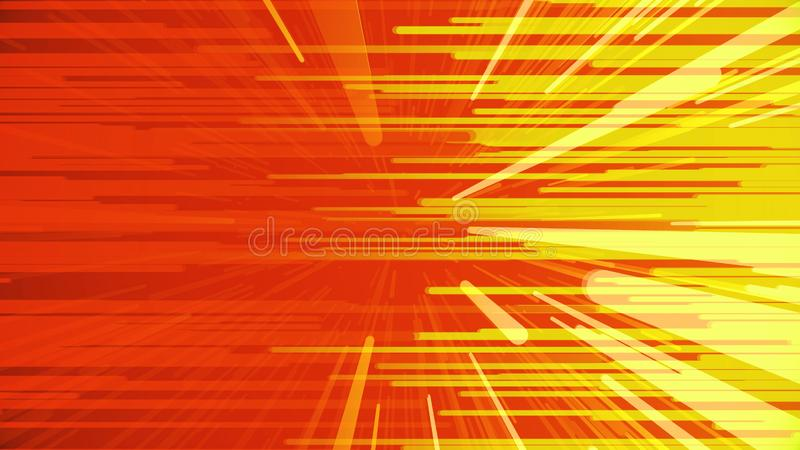 移动朝彼此的水平和对角光芒五颜六色的背景  o 明亮的狭窄的线流动 库存例证