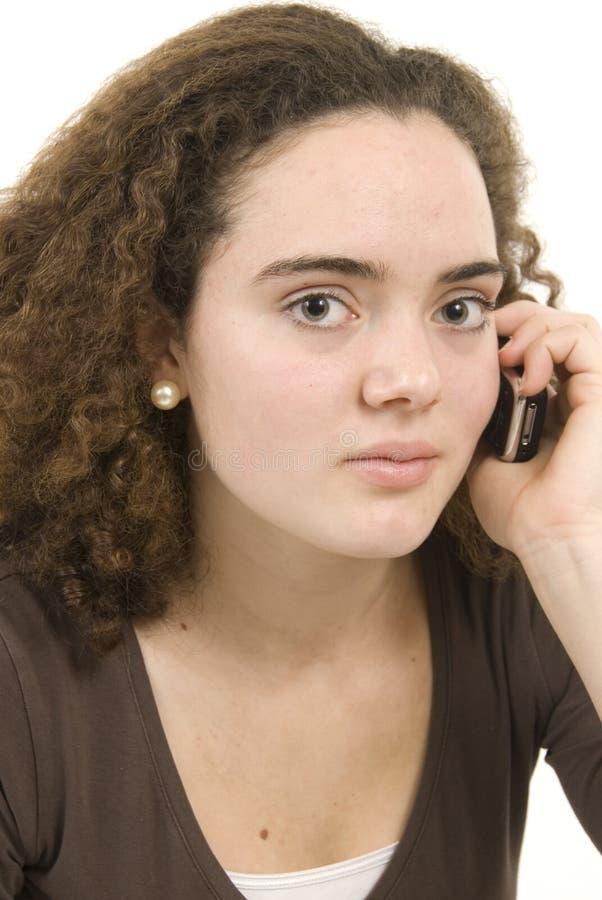 移动电话严重的谈话 库存图片