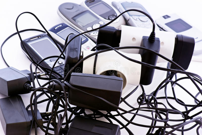 移动电话充电器 库存图片